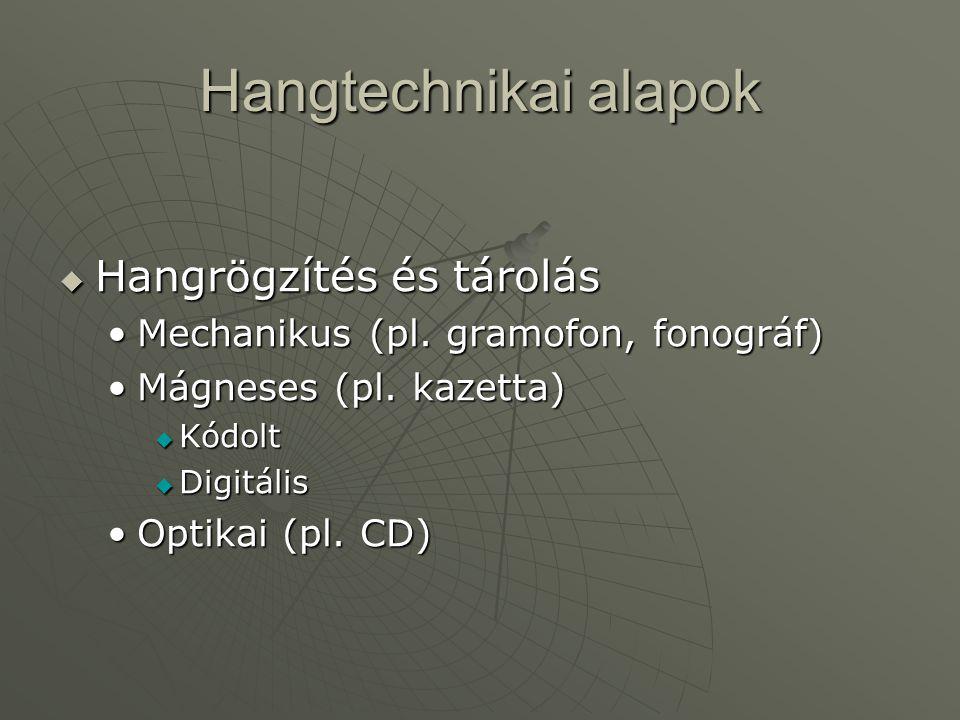 Hangtechnikai alapok  Hangrögzítés és tárolás •Mechanikus (pl. gramofon, fonográf) •Mágneses (pl. kazetta)  Kódolt  Digitális •Optikai (pl. CD)