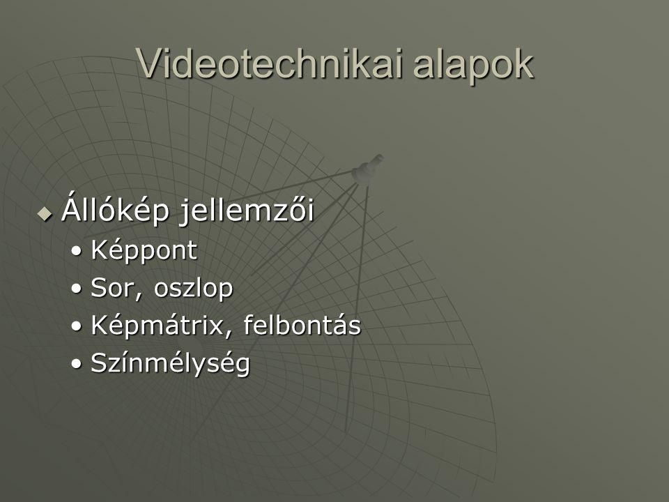Videotechnikai alapok  Állókép jellemzői •Képpont •Sor, oszlop •Képmátrix, felbontás •Színmélység