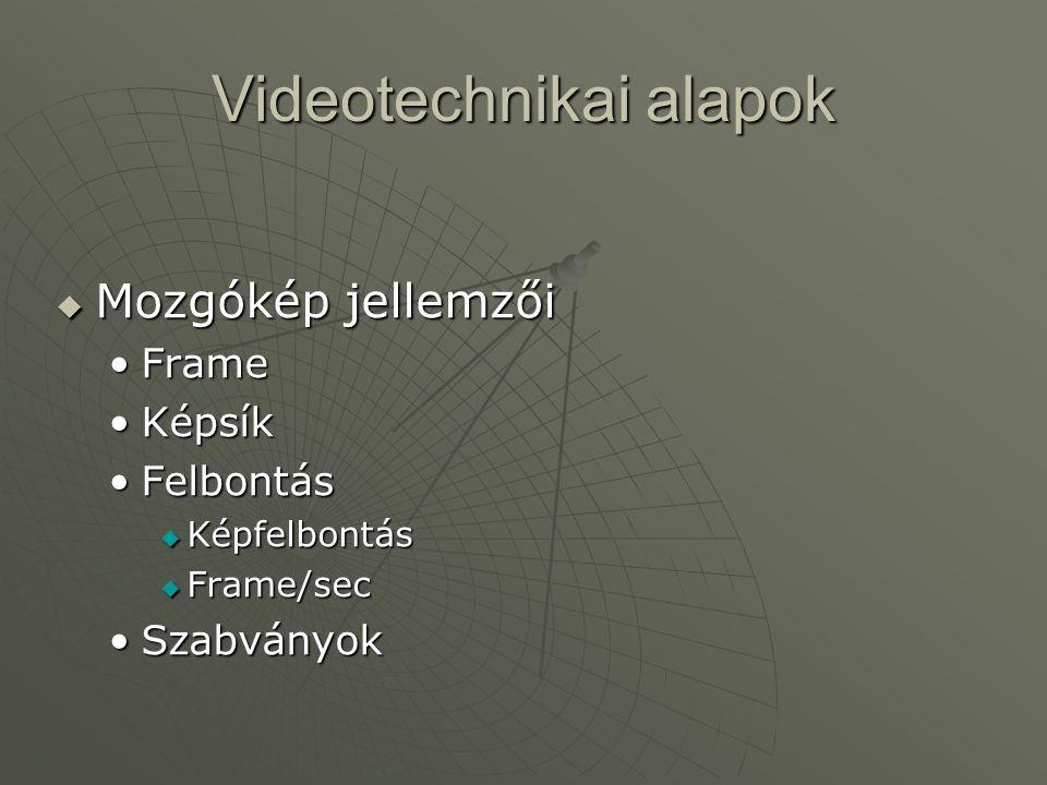 Videotechnikai alapok  Rögzítés és tárolás (állókép) •Fényképezés  Analóg fényképezőgép  Digitális rögzítés •Tárolás  Fénykép, dia  Digitalizált