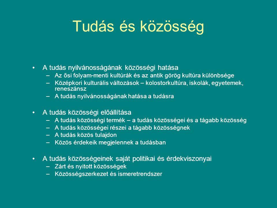 Tudás és közösség •A tudás nyilvánosságának közösségi hatása –Az ősi folyam-menti kultúrák és az antik görög kultúra különbsége –Középkori kulturális