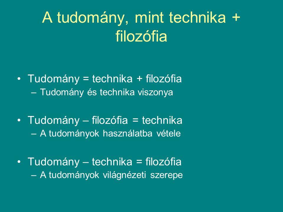 A tudomány, mint technika + filozófia •Tudomány = technika + filozófia –Tudomány és technika viszonya •Tudomány – filozófia = technika –A tudományok h