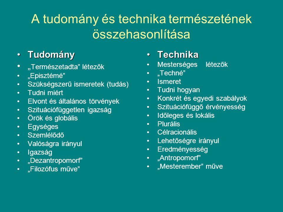 """A tudomány és technika természetének összehasonlítása •Tudomány •"""" Természetadta"""" létezők •""""Episztémé"""" •Szükségszerű ismeretek (tudás) •Tudni miért •E"""