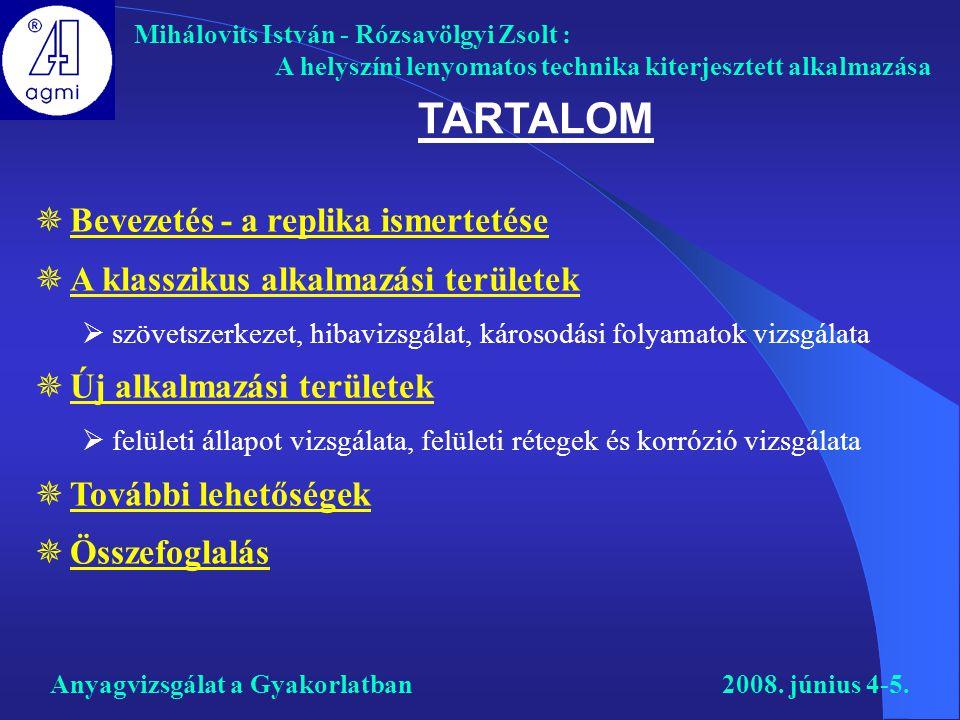 TARTALOM Mihálovits István - Rózsavölgyi Zsolt : A helyszíni lenyomatos technika kiterjesztett alkalmazása Anyagvizsgálat a Gyakorlatban2008. június 4