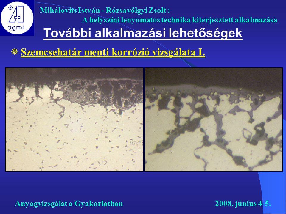 Mihálovits István - Rózsavölgyi Zsolt : A helyszíni lenyomatos technika kiterjesztett alkalmazása További alkalmazási lehetőségek  Szemcsehatár menti