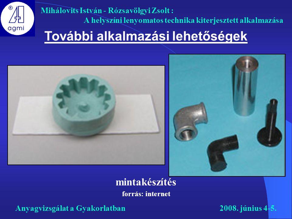 Mihálovits István - Rózsavölgyi Zsolt : A helyszíni lenyomatos technika kiterjesztett alkalmazása Anyagvizsgálat a Gyakorlatban2008. június 4-5. Továb
