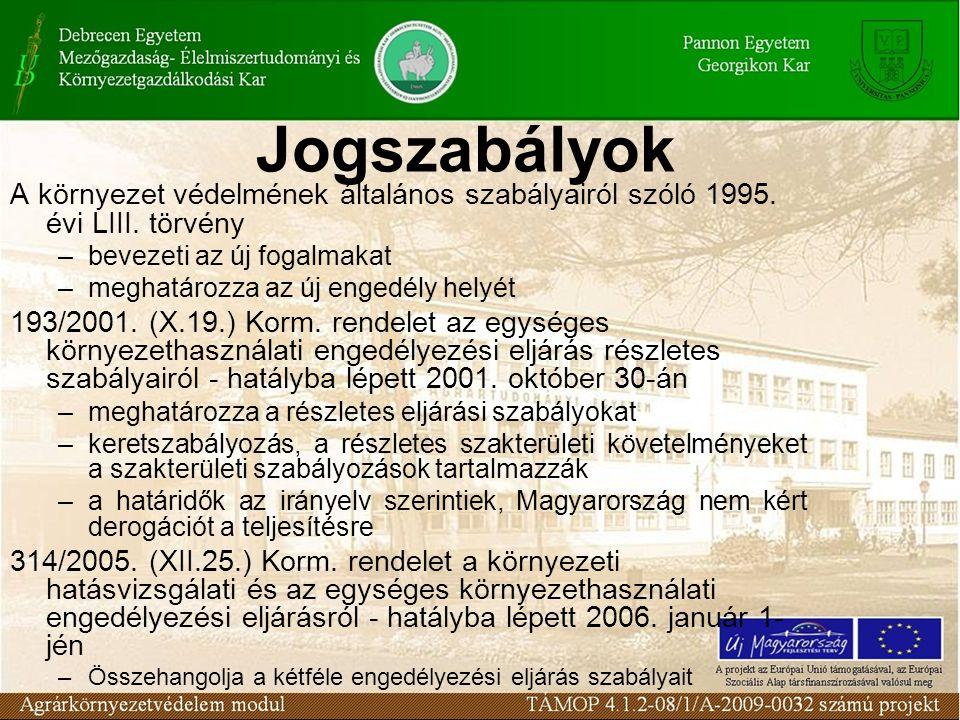 Jogszabályok A környezet védelmének általános szabályairól szóló 1995.