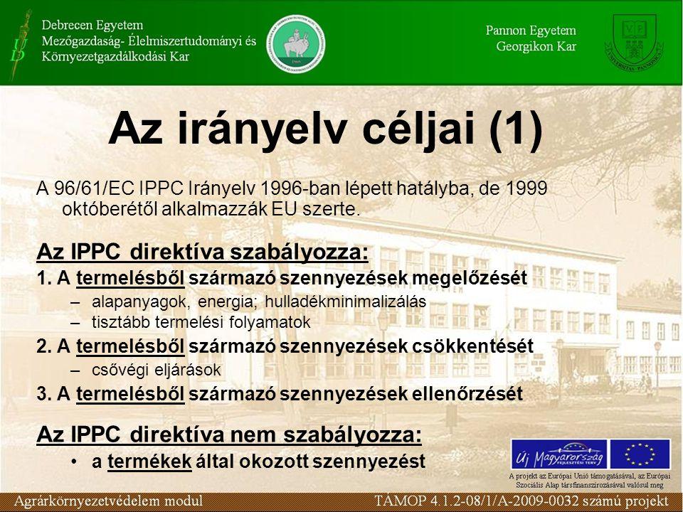 Az irányelv céljai (1) A 96/61/EC IPPC Irányelv 1996-ban lépett hatályba, de 1999 októberétől alkalmazzák EU szerte.