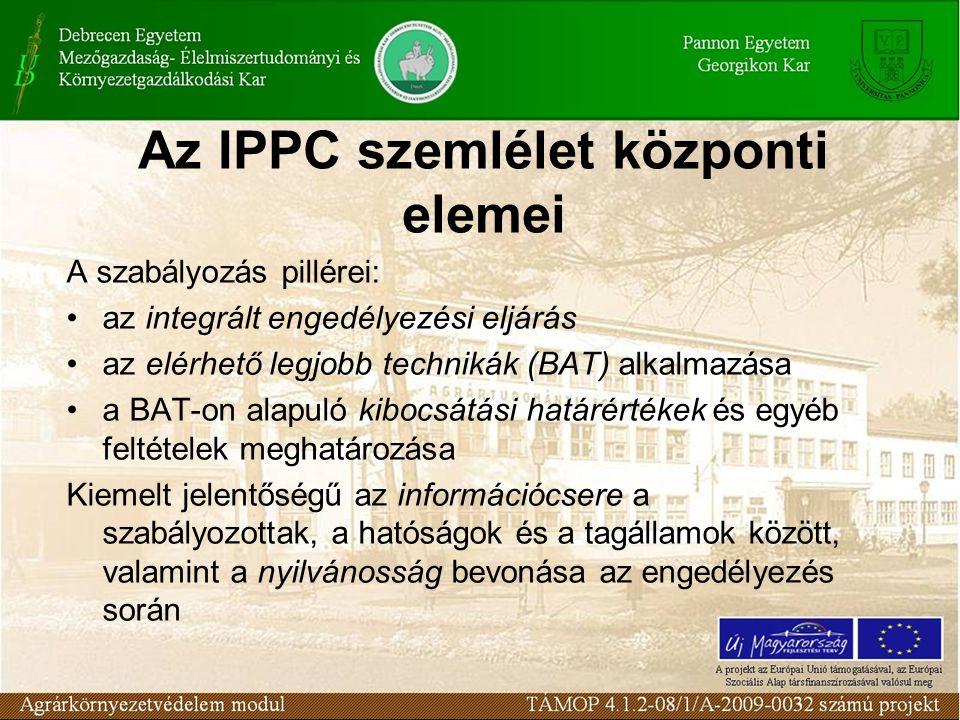 Az IPPC szemlélet központi elemei A szabályozás pillérei: •az integrált engedélyezési eljárás •az elérhető legjobb technikák (BAT) alkalmazása •a BAT-on alapuló kibocsátási határértékek és egyéb feltételek meghatározása Kiemelt jelentőségű az információcsere a szabályozottak, a hatóságok és a tagállamok között, valamint a nyilvánosság bevonása az engedélyezés során