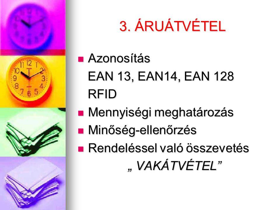 3. ÁRUÁTVÉTEL  Azonosítás EAN 13, EAN14, EAN 128 EAN 13, EAN14, EAN 128 RFID RFID  Mennyiségi meghatározás  Minőség-ellenőrzés  Rendeléssel való ö