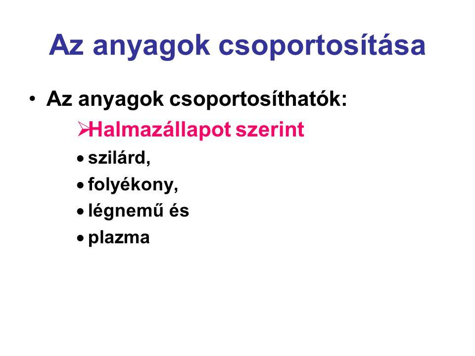 Az anyagok csoportosítása •Az anyagok csoportosíthatók:  Halmazállapot szerint  szilárd,  folyékony,  légnemű és  plazma