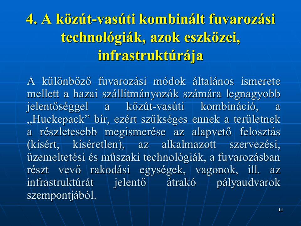 11 4. A közút-vasúti kombinált fuvarozási technológiák, azok eszközei, infrastruktúrája A különböző fuvarozási módok általános ismerete mellett a haza