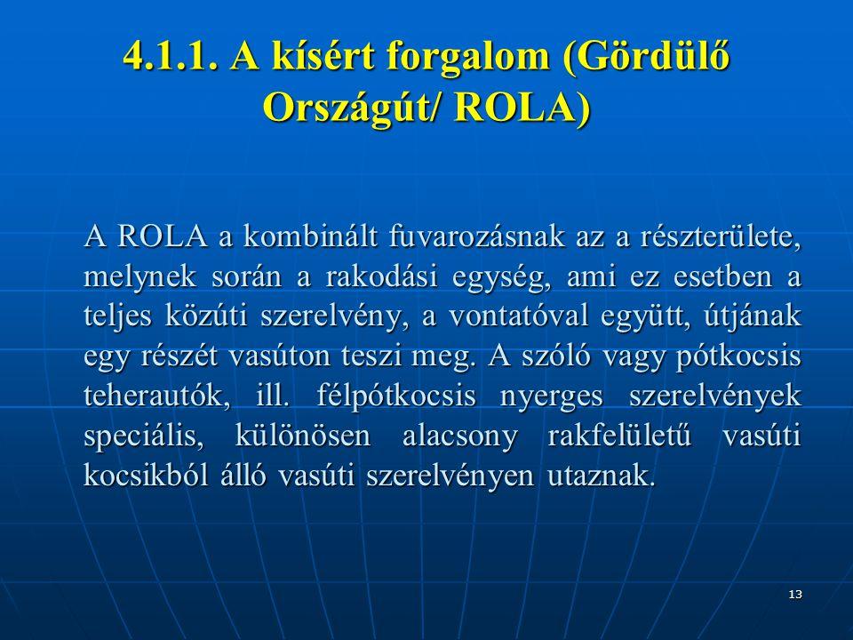 13 4.1.1. A kísért forgalom (Gördülő Országút/ ROLA) A ROLA a kombinált fuvarozásnak az a részterülete, melynek során a rakodási egység, ami ez esetbe
