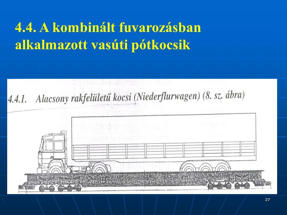 27 4.4. A kombinált fuvarozásban alkalmazott vasúti pótkocsik