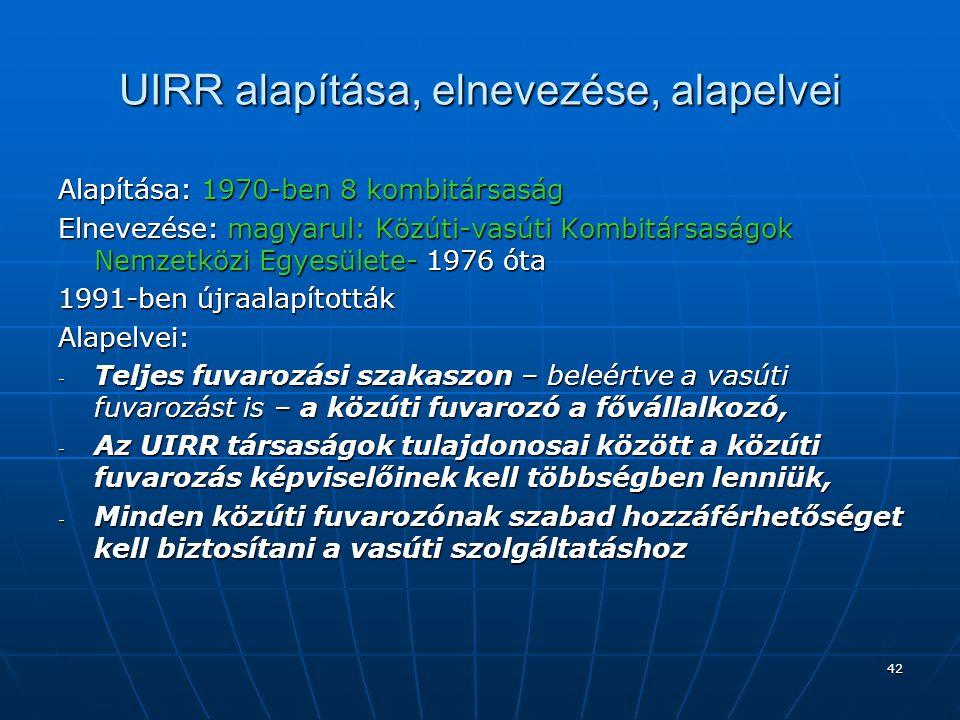 42 UIRR alapítása, elnevezése, alapelvei Alapítása: 1970-ben 8 kombitársaság Elnevezése: magyarul: Közúti-vasúti Kombitársaságok Nemzetközi Egyesülete
