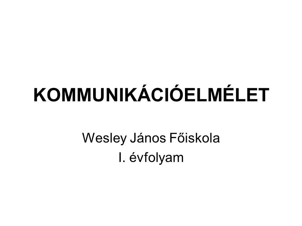 KOMMUNIKÁCIÓELMÉLET Wesley János Főiskola I. évfolyam