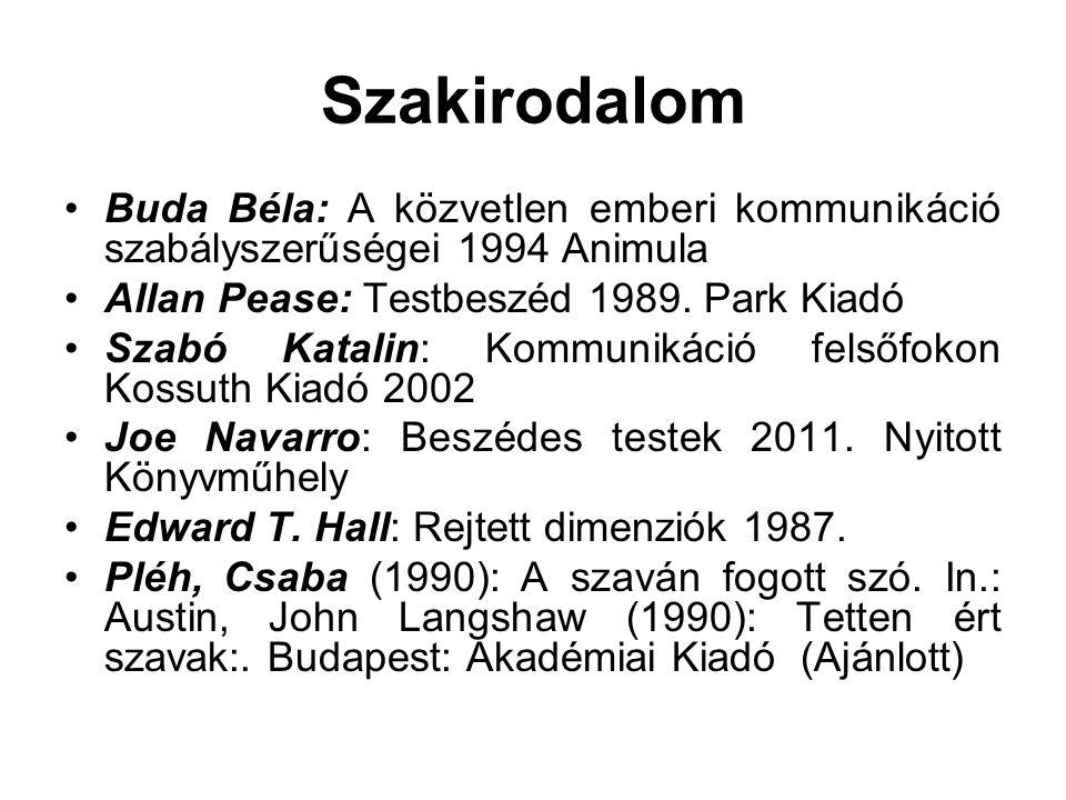 Szakirodalom •Buda Béla: A közvetlen emberi kommunikáció szabályszerűségei 1994 Animula •Allan Pease: Testbeszéd 1989. Park Kiadó •Szabó Katalin: Komm