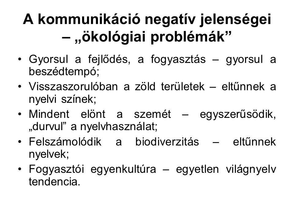 """A kommunikáció negatív jelenségei – """"ökológiai problémák"""" •Gyorsul a fejlődés, a fogyasztás – gyorsul a beszédtempó; •Visszaszorulóban a zöld területe"""