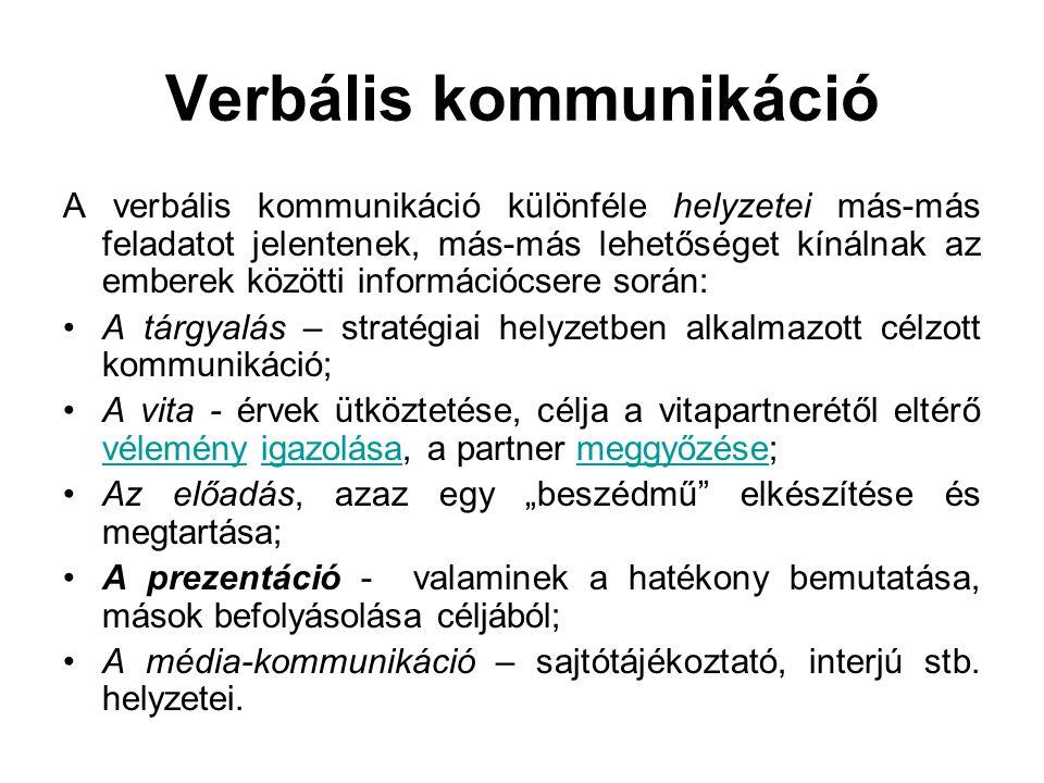 Verbális kommunikáció A verbális kommunikáció különféle helyzetei más-más feladatot jelentenek, más-más lehetőséget kínálnak az emberek közötti inform