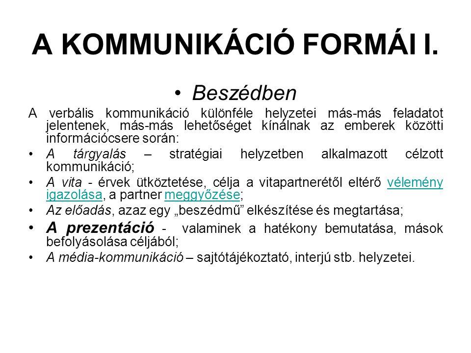 A KOMMUNIKÁCIÓ FORMÁI I. •Beszédben A verbális kommunikáció különféle helyzetei más-más feladatot jelentenek, más-más lehetőséget kínálnak az emberek
