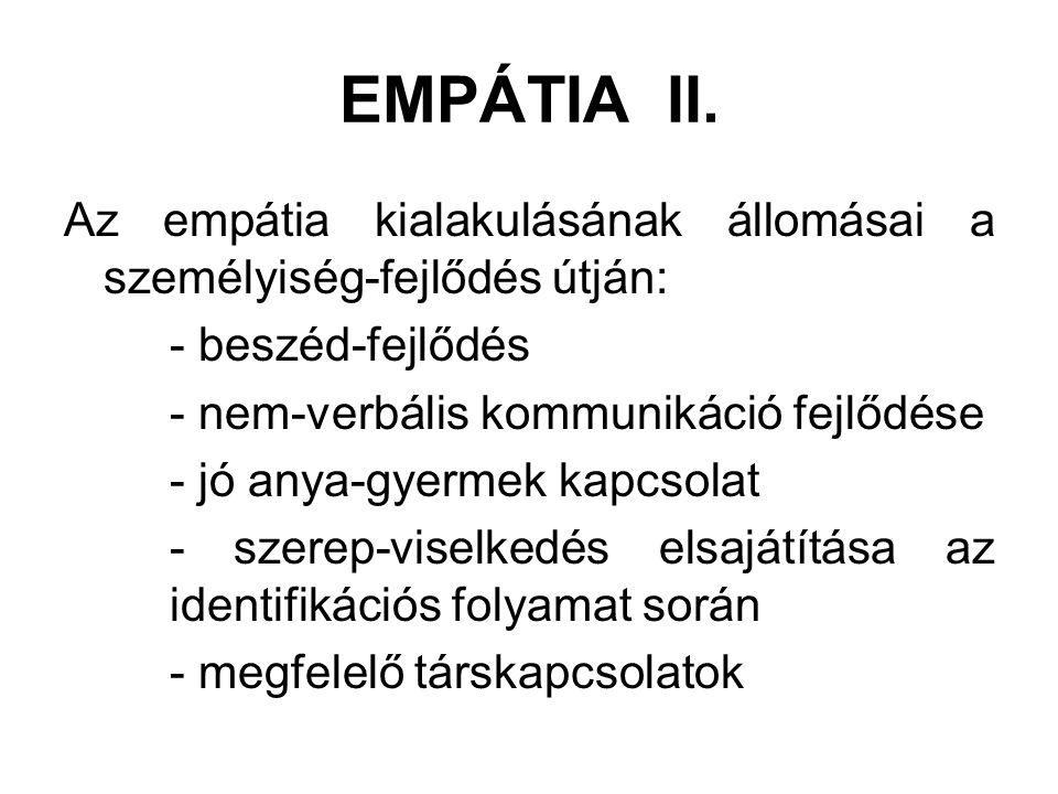 EMPÁTIA II. Az empátia kialakulásának állomásai a személyiség-fejlődés útján: - beszéd-fejlődés - nem-verbális kommunikáció fejlődése - jó anya-gyerme