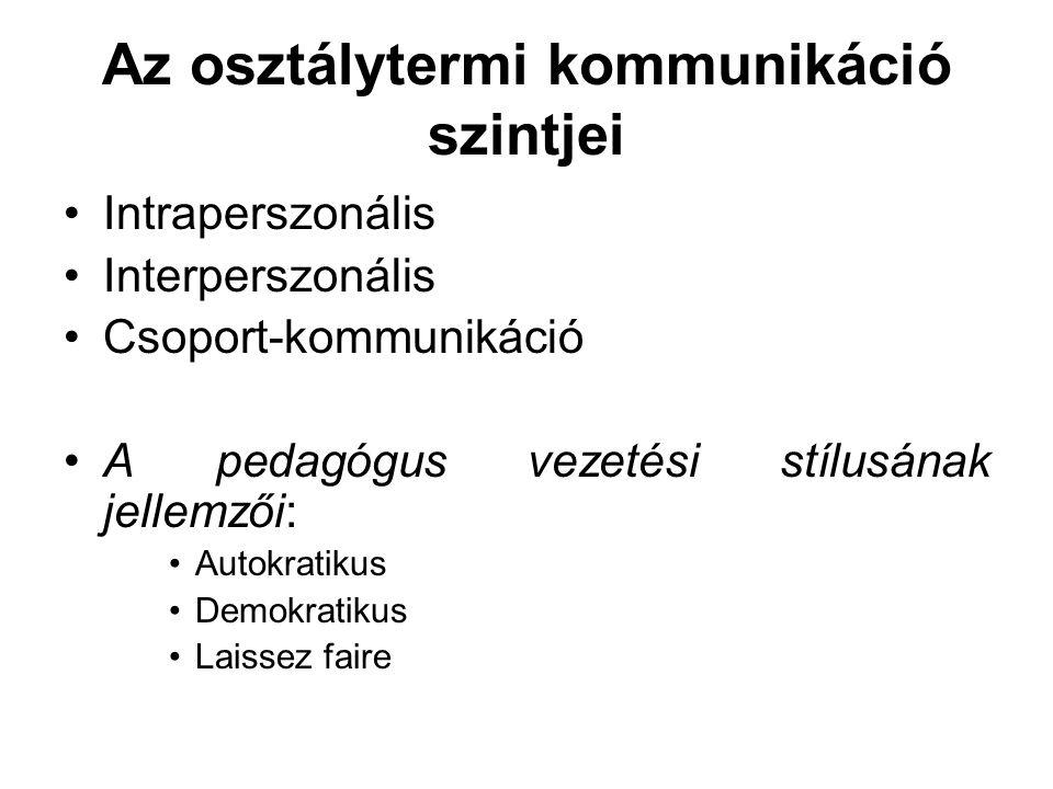 Az osztálytermi kommunikáció szintjei •Intraperszonális •Interperszonális •Csoport-kommunikáció •A pedagógus vezetési stílusának jellemzői: •Autokrati