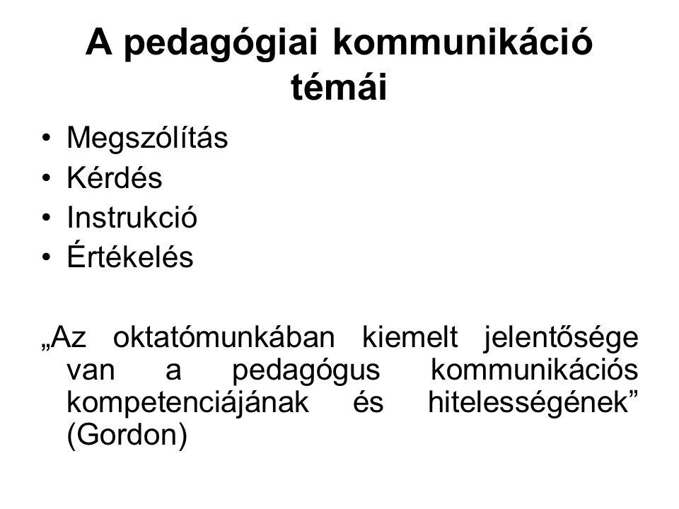 """A pedagógiai kommunikáció témái •Megszólítás •Kérdés •Instrukció •Értékelés """"Az oktatómunkában kiemelt jelentősége van a pedagógus kommunikációs kompe"""