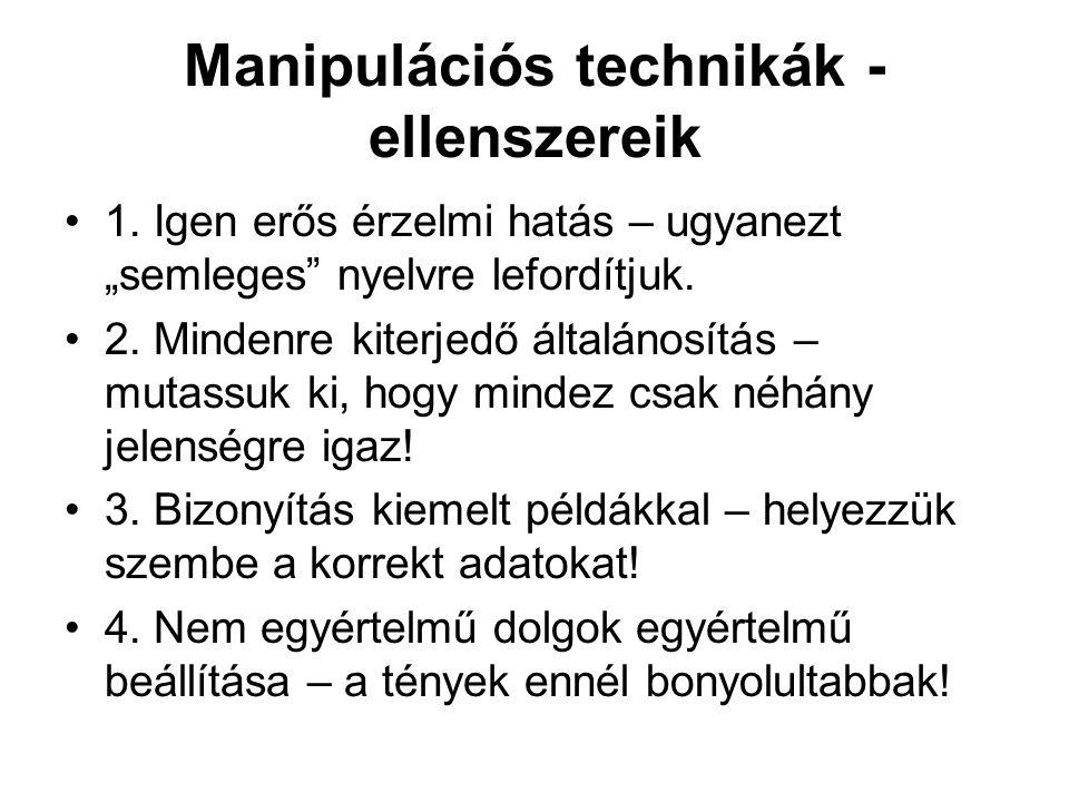 """Manipulációs technikák - ellenszereik •1. Igen erős érzelmi hatás – ugyanezt """"semleges"""" nyelvre lefordítjuk. •2. Mindenre kiterjedő általánosítás – mu"""