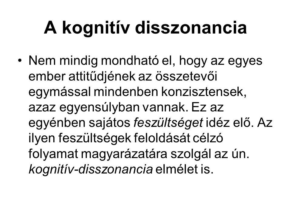 A kognitív disszonancia •Nem mindig mondható el, hogy az egyes ember attitűdjének az összetevői egymással mindenben konzisztensek, azaz egyensúlyban v