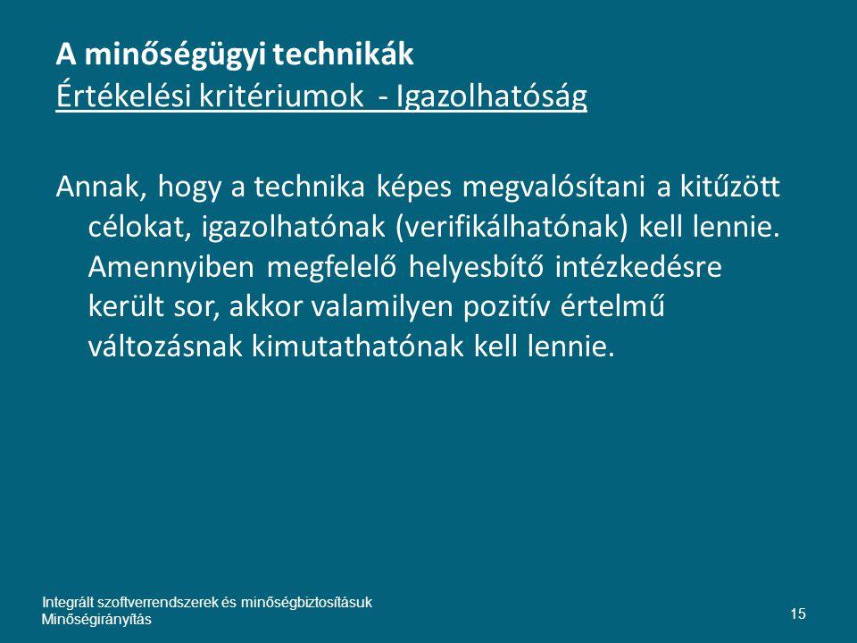 A minőségügyi technikák Értékelési kritériumok - Igazolhatóság Annak, hogy a technika képes megvalósítani a kitűzött célokat, igazolhatónak (verifikálhatónak) kell lennie.
