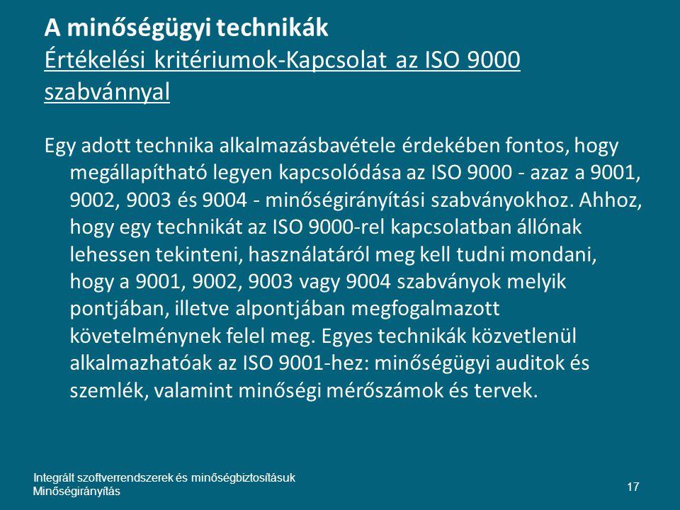 A minőségügyi technikák Értékelési kritériumok-Kapcsolat az ISO 9000 szabvánnyal Egy adott technika alkalmazásbavétele érdekében fontos, hogy megállapítható legyen kapcsolódása az ISO 9000 - azaz a 9001, 9002, 9003 és 9004 - minőségirányítási szabványokhoz.