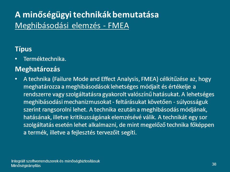 A minőségügyi technikák bemutatása Meghibásodási elemzés - FMEA Típus • Terméktechnika.