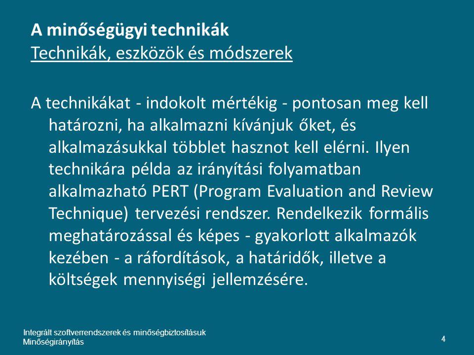 A minőségügyi technikák Technikák, eszközök és módszerek A technikákat - indokolt mértékig - pontosan meg kell határozni, ha alkalmazni kívánjuk őket, és alkalmazásukkal többlet hasznot kell elérni.