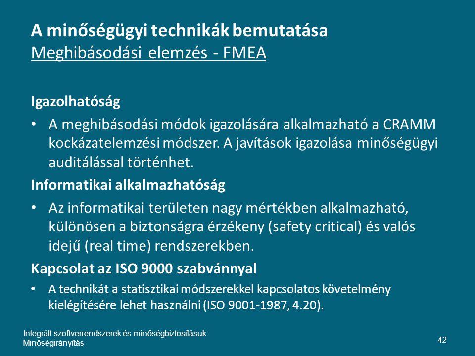 A minőségügyi technikák bemutatása Meghibásodási elemzés - FMEA Igazolhatóság • A meghibásodási módok igazolására alkalmazható a CRAMM kockázatelemzési módszer.