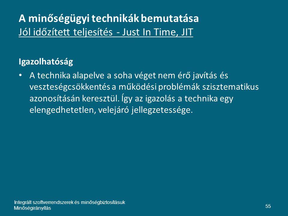 A minőségügyi technikák bemutatása Jól időzített teljesítés - Just In Time, JIT Igazolhatóság • A technika alapelve a soha véget nem érő javítás és veszteségcsökkentés a működési problémák szisztematikus azonosításán keresztül.
