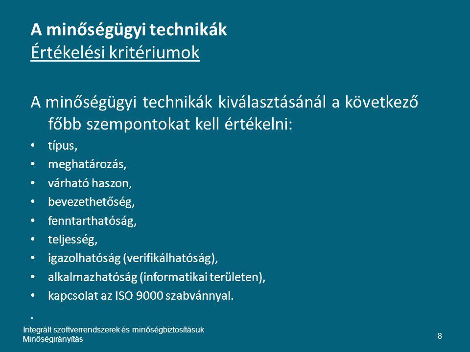 A minőségügyi technikák Értékelési kritériumok A minőségügyi technikák kiválasztásánál a következő főbb szempontokat kell értékelni: • típus, • meghatározás, • várható haszon, • bevezethetőség, • fenntarthatóság, • teljesség, • igazolhatóság (verifikálhatóság), • alkalmazhatóság (informatikai területen), • kapcsolat az ISO 9000 szabvánnyal..