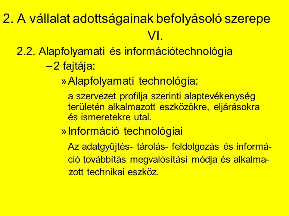 2. A vállalat adottságainak befolyásoló szerepe VI. 2.2. Alapfolyamati és információtechnológia –2 fajtája: »Alapfolyamati technológia: a szervezet pr