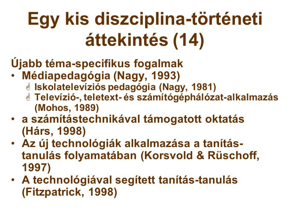 Egy kis diszciplina-történeti áttekintés (14) Újabb téma-specifikus fogalmak •Médiapedagógia (Nagy, 1993)  Iskolatelevíziós pedagógia (Nagy, 1981) 