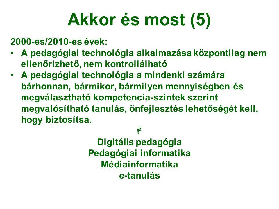 Akkor és most (5) 2000-es/2010-es évek: •A pedagógiai technológia alkalmazása központilag nem ellenőrizhető, nem kontrollálható •A pedagógiai technoló