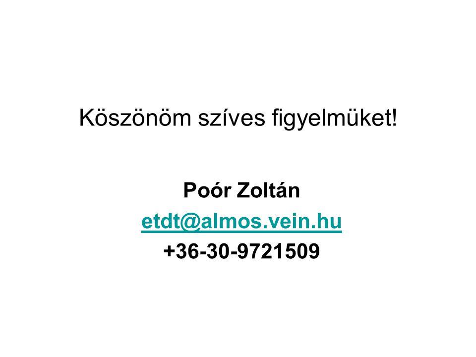 Köszönöm szíves figyelmüket! Poór Zoltán etdt@almos.vein.hu +36-30-9721509