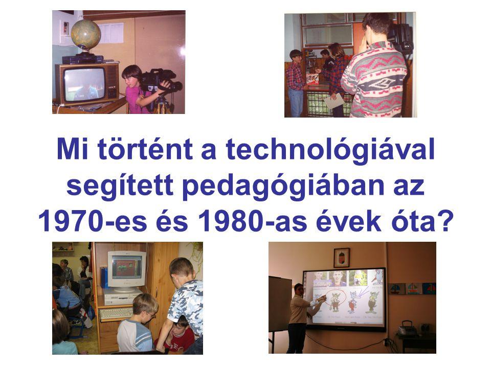 Egy kis diszciplina-történeti áttekintés (1) •Programozott oktatás (Gyaraki, 1969) •Audiovizuális oktatás (Szebeni, 1968) •Az oktatás segédeszközeinek alkalmazása (Dzsatkó, 1977) •Az oktatás technikai eszközeinek alkalmazása (Szalay, 1977) •Az oktatástechnika alkalmazása (Gyaraki, 1980) •Technika az oktatásban(Gyaraki, 1980)