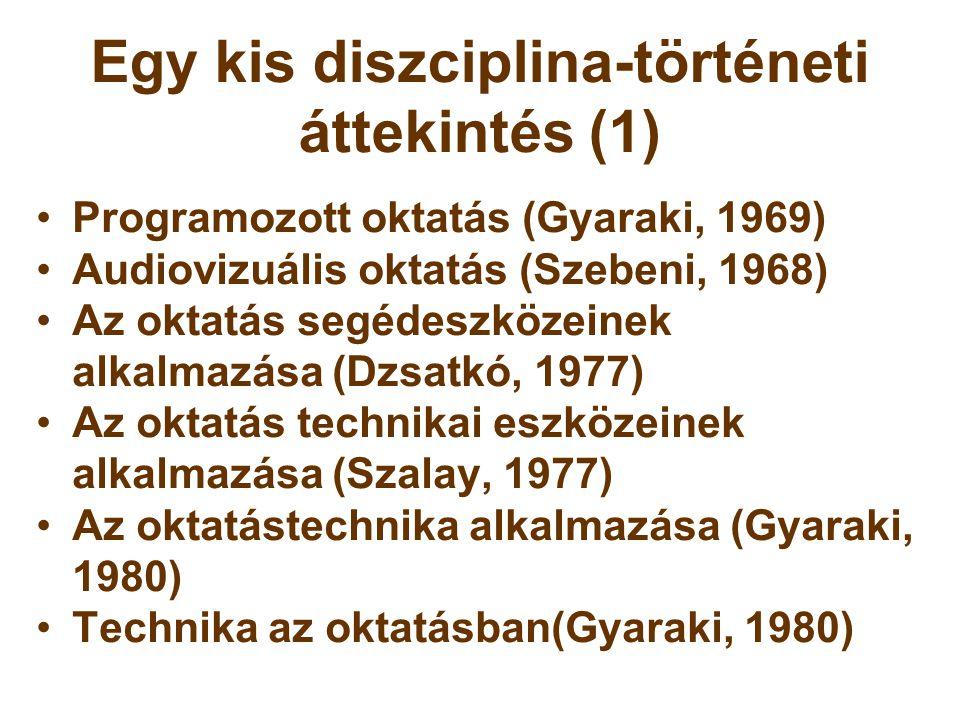 Egy kis diszciplina-történeti áttekintés (1) •Programozott oktatás (Gyaraki, 1969) •Audiovizuális oktatás (Szebeni, 1968) •Az oktatás segédeszközeinek