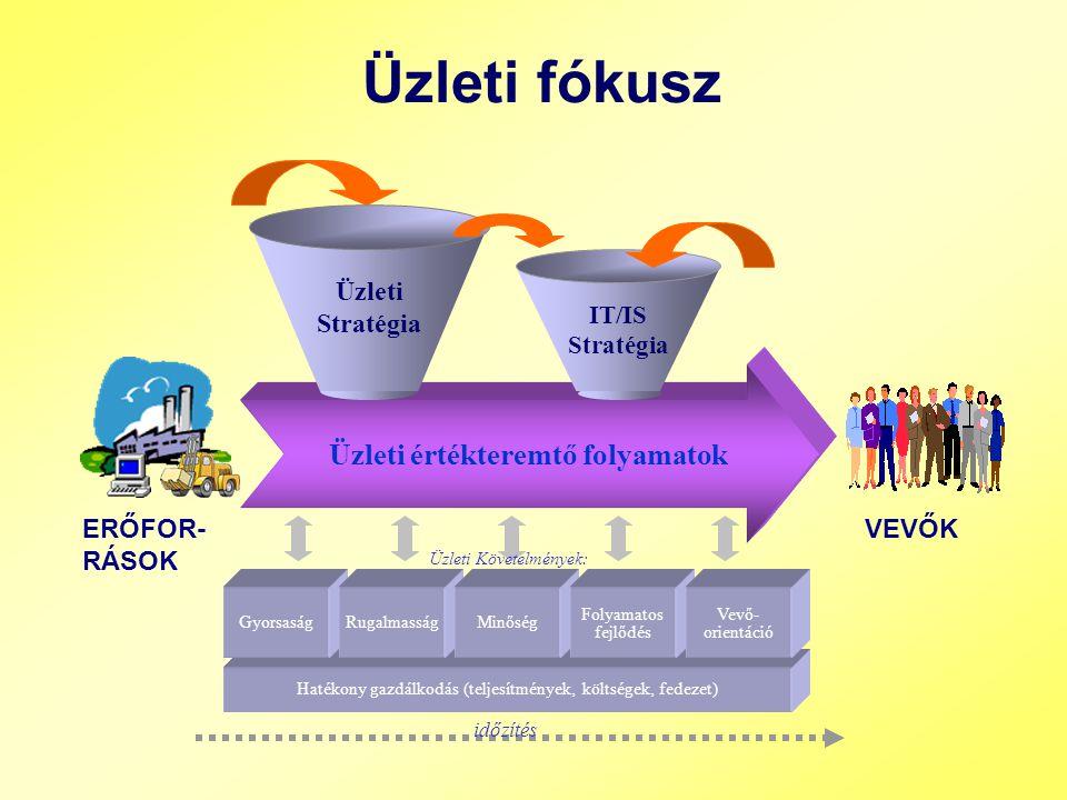 Üzleti értékteremtő folyamatok Hatékony gazdálkodás (teljesítmények, költségek, fedezet) Üzleti fókusz GyorsaságRugalmasságMinőség Folyamatos fejlődés IT/IS Stratégia Üzleti Stratégia Vevő- orientáció VEVŐKERŐFOR- RÁSOK Üzleti Követelmények: időzítés