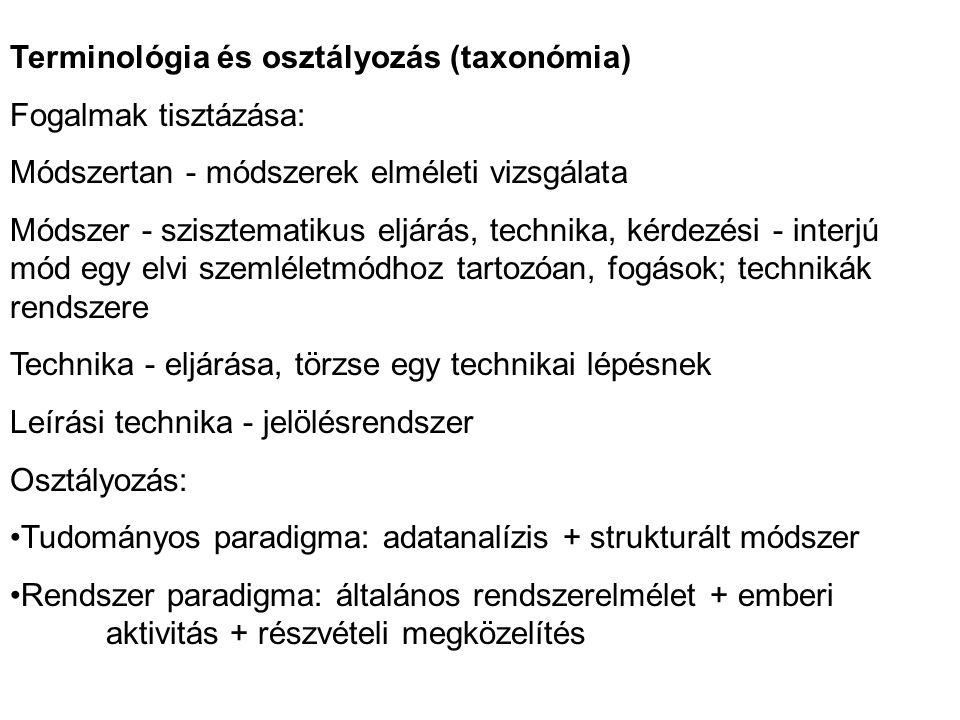 Terminológia és osztályozás (taxonómia) Fogalmak tisztázása: Módszertan - módszerek elméleti vizsgálata Módszer - szisztematikus eljárás, technika, kérdezési - interjú mód egy elvi szemléletmódhoz tartozóan, fogások; technikák rendszere Technika - eljárása, törzse egy technikai lépésnek Leírási technika - jelölésrendszer Osztályozás: •Tudományos paradigma: adatanalízis + strukturált módszer •Rendszer paradigma: általános rendszerelmélet + emberi aktivitás + részvételi megközelítés