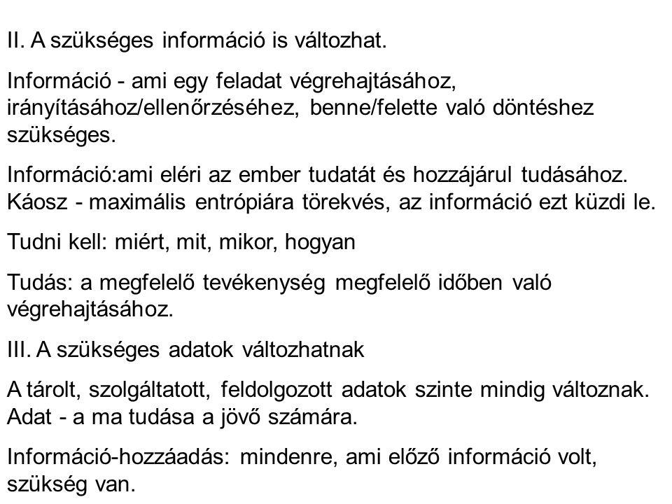 II. A szükséges információ is változhat.