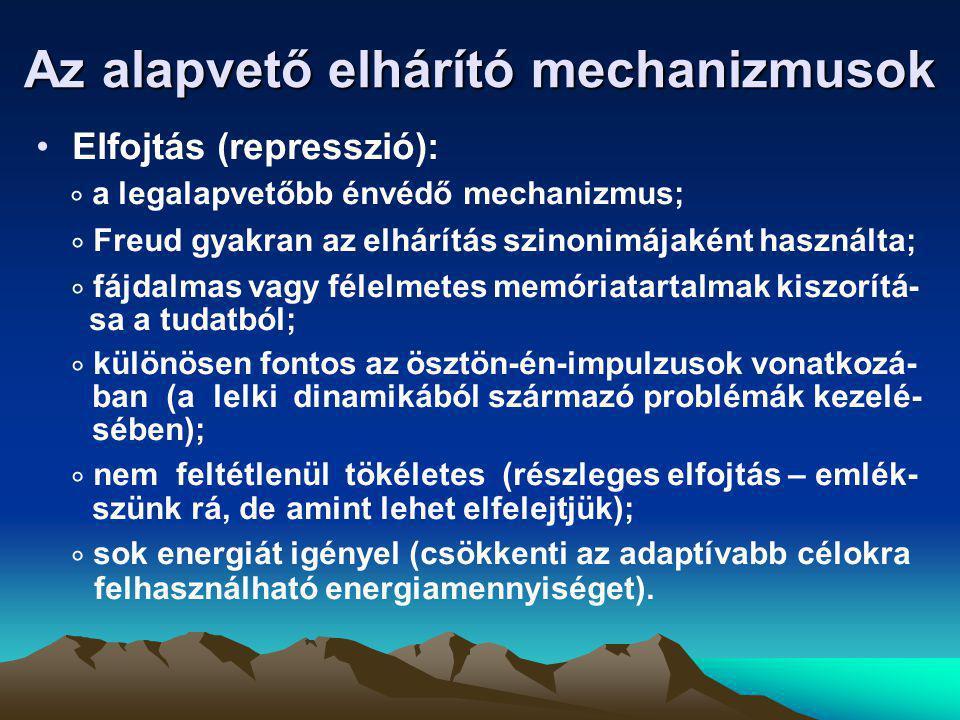 Az alapvető elhárító mechanizmusok •Elfojtás (represszió):  a legalapvetőbb énvédő mechanizmus;  Freud gyakran az elhárítás szinonimájaként használt