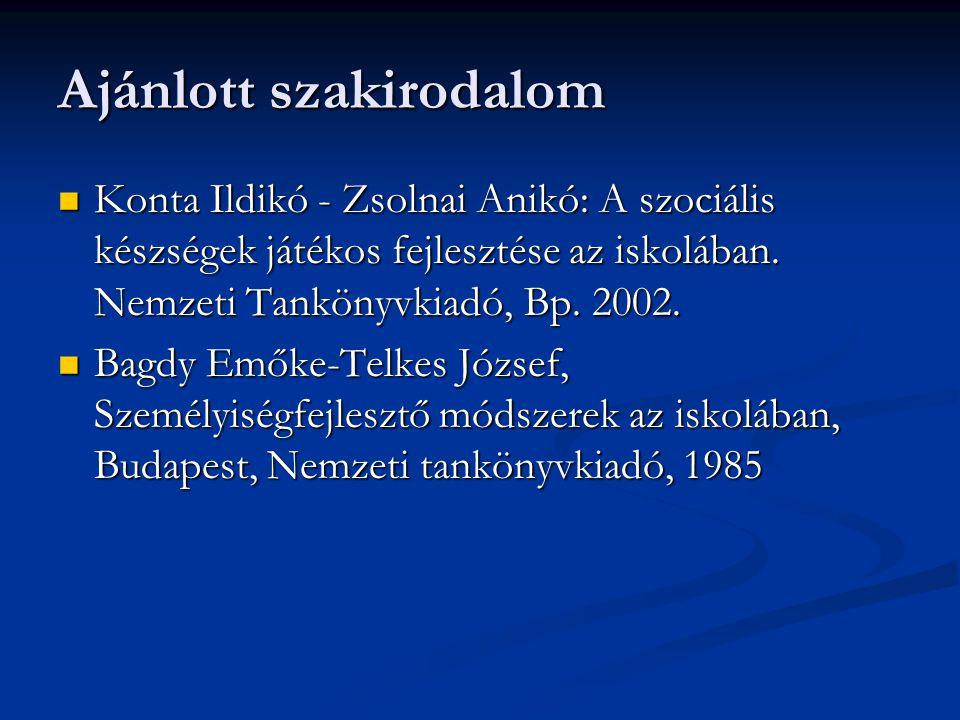 Ajánlott szakirodalom  Konta Ildikó - Zsolnai Anikó: A szociális készségek játékos fejlesztése az iskolában. Nemzeti Tankönyvkiadó, Bp. 2002.  Bagdy