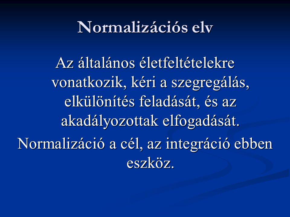 Normalizációs elv Az általános életfeltételekre vonatkozik, kéri a szegregálás, elkülönítés feladását, és az akadályozottak elfogadását. Normalizáció