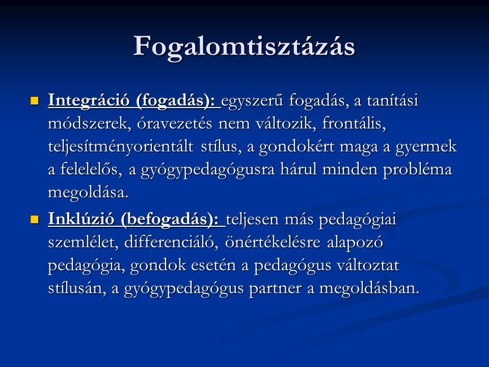 Fogalomtisztázás  Integráció (fogadás): egyszerű fogadás, a tanítási módszerek, óravezetés nem változik, frontális, teljesítményorientált stílus, a g