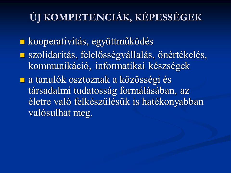 ÚJ KOMPETENCIÁK, KÉPESSÉGEK  kooperativitás, együttműködés  szolidaritás, felelősségvállalás, önértékelés, kommunikáció, informatikai készségek  a