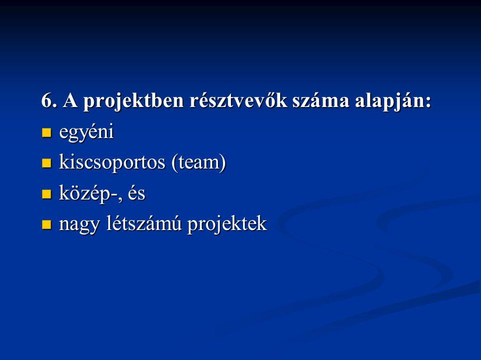 6. A projektben résztvevők száma alapján:  egyéni  kiscsoportos (team)  közép-, és  nagy létszámú projektek